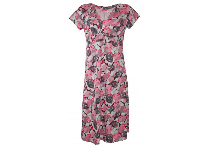 Delší šaty s růžovým tiskem