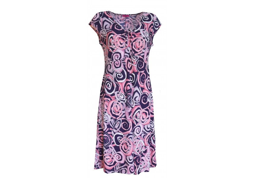 Barevné růžovo-modré letní šaty
