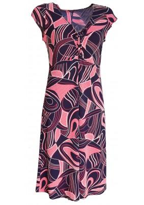 Modré letní šaty s lososovým tiskem