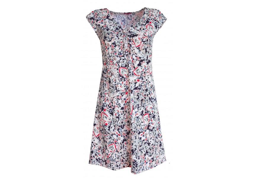 Modré letní šaty s bílo-červeným tiskem