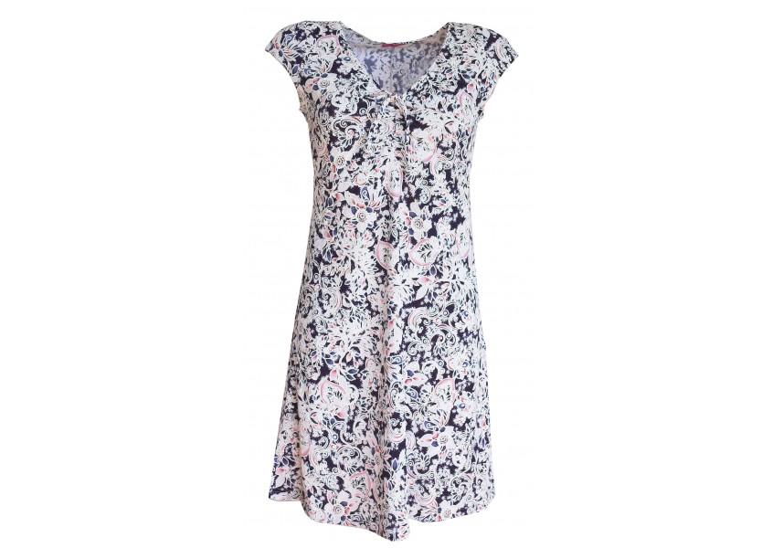 Modré letní šaty s bílo-růžovým tiskem