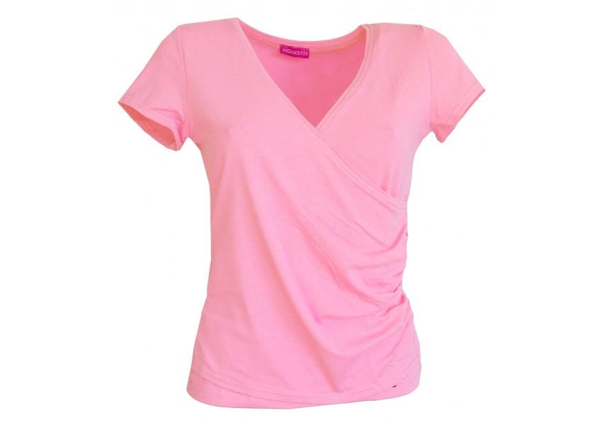Růžové tričko s překládaným výstřihem