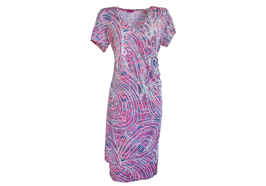 Letní překládané šaty s tiskem
