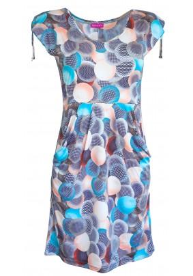 Modré letní šaty s kapsami