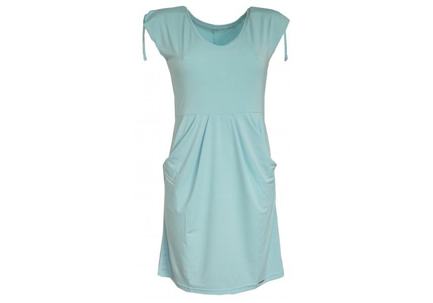 Světle modré šaty s kapsami