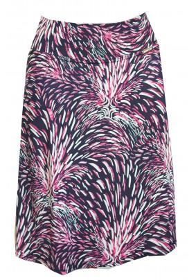 Modrá sukně s rúžovo-bílým tiskem