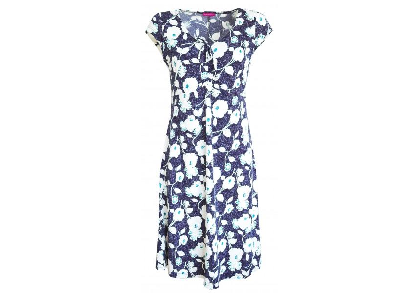 Modré letní šaty s tiskem květů