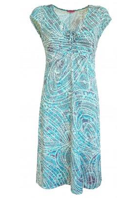 Letní tyrkysovo-bílé šaty