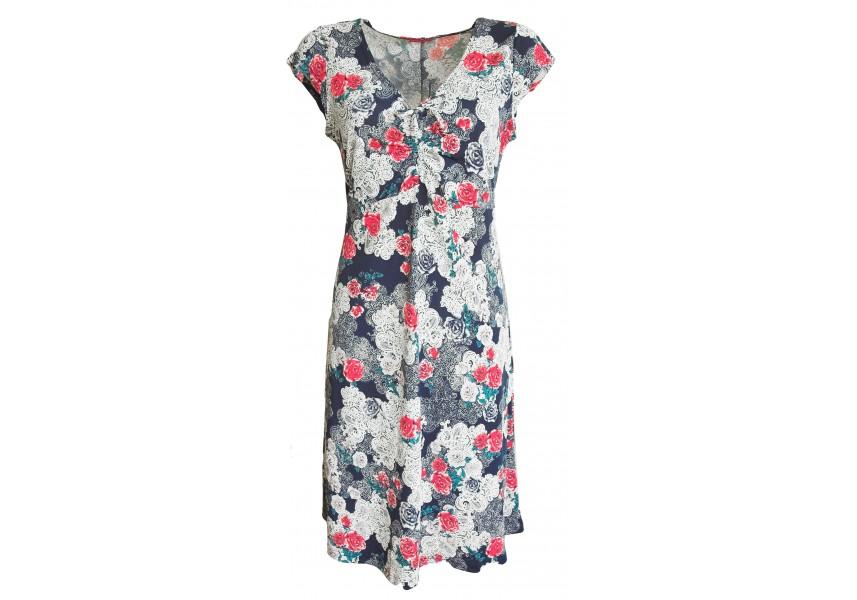 Modré, květované delší šaty