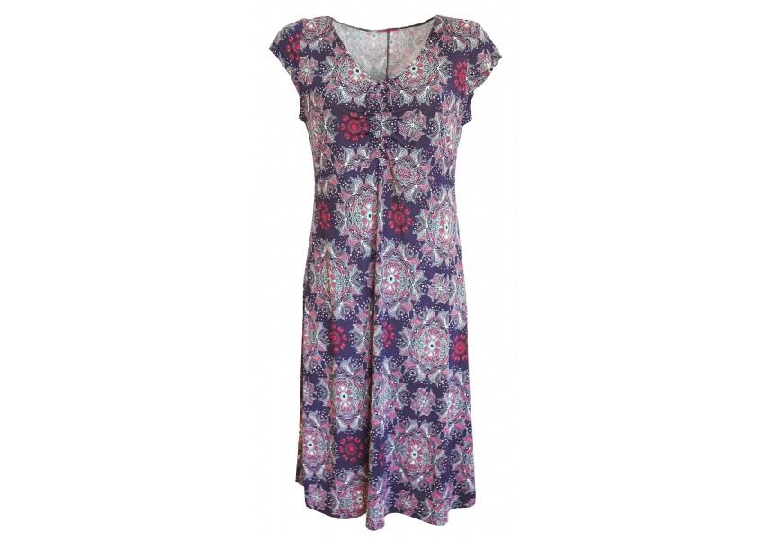 Modré letní šaty s tmavě růžovým tiskem