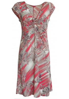 Letní červeno-šedo-bílé šaty