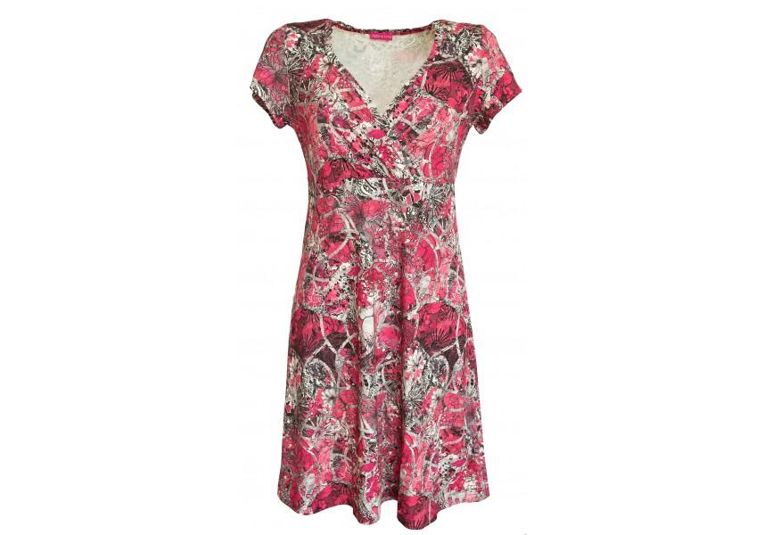 Šedo-růžové šaty s krátkým rukávem