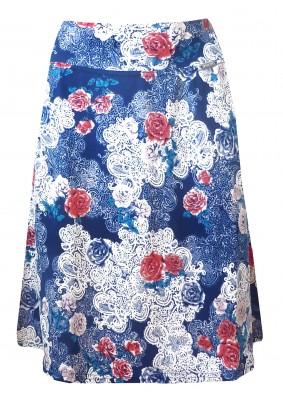 Letní modrá sukně s tiskem květů