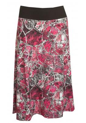 Šedo-růžová delší sukně