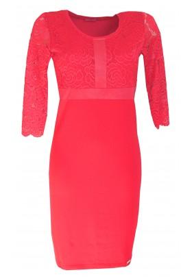 Červené kombinované šaty s krajkou