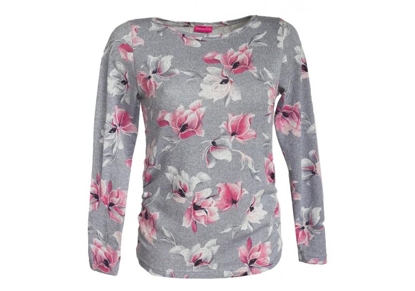 Světle šedý svetr s růžovým tiskem