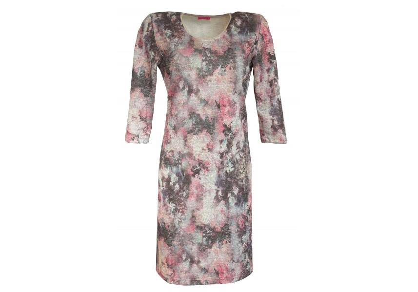 Podzimní šedo-růžové šaty s 3/4 rukávem