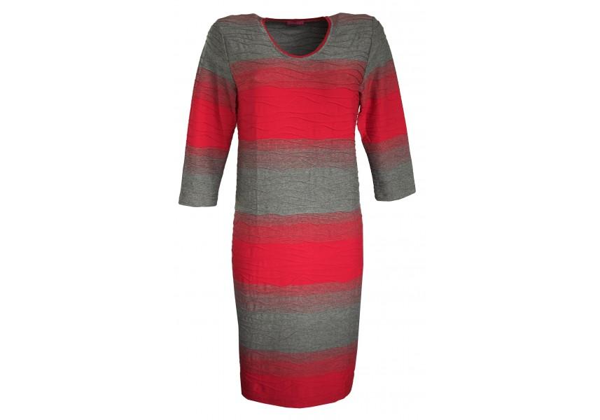 Pruhované šedo-červené šaty