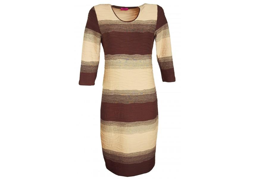 Hnědo-béžové pruhované šaty
