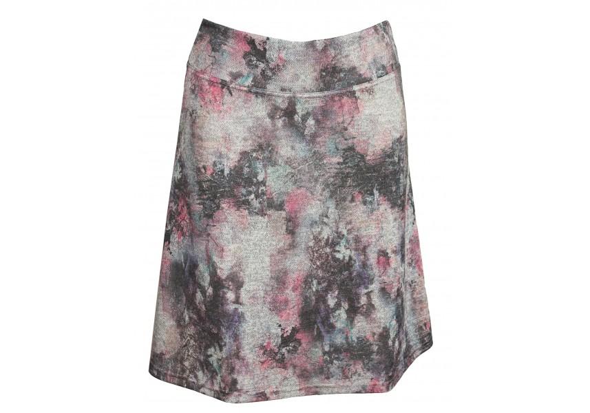 Podzimní sukně v šedo-růžové barvě