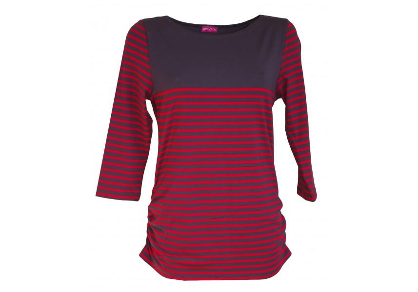 Modro-červené pruhované triko