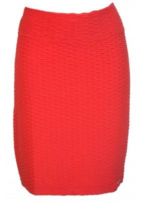 Oranžová sukně s plastickým vzorem