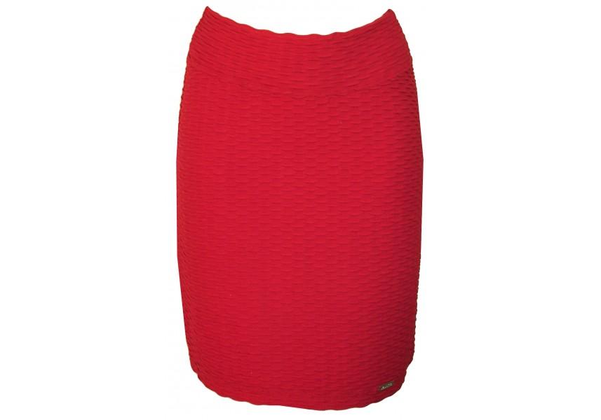 Červená sukně s plastickým vzorem