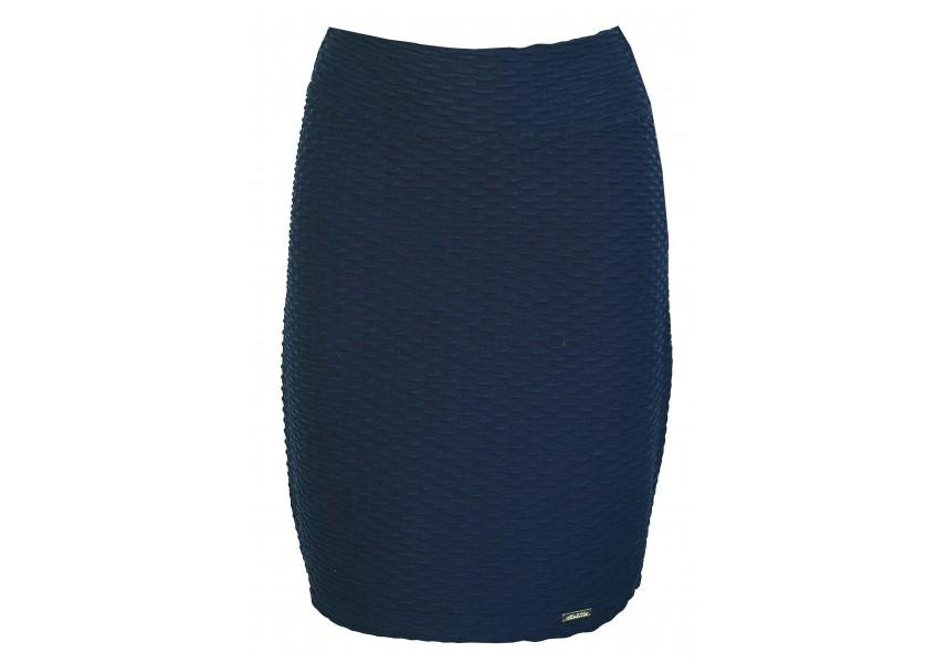 Tmavě modrá sukně s plastickým vzorem