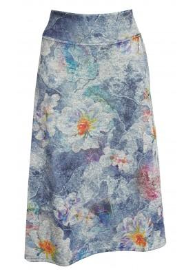 Delší sukně s květy