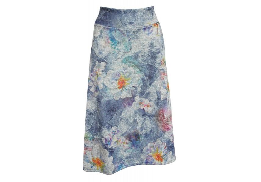 Delší teplá sukně s květy