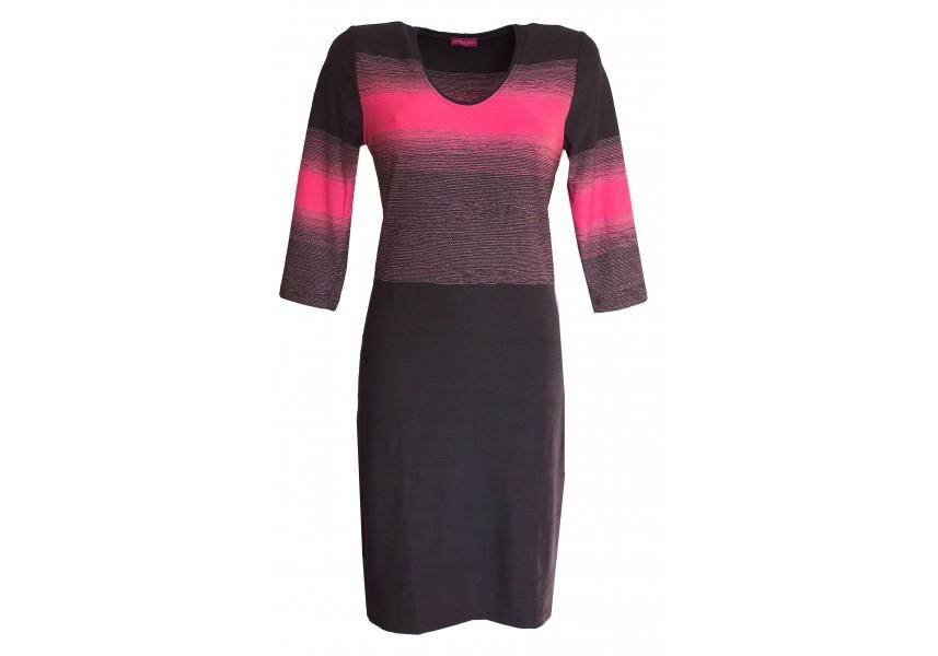 Modro růžové šaty s plastickým vzorem