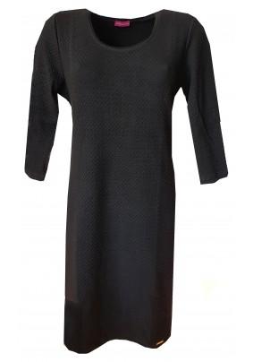 Tmavě modré šaty s plastickým vzorem