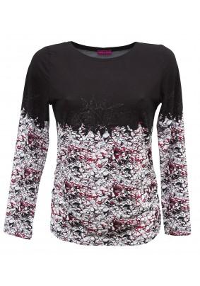 Černé triko s bílo červeným vzorem