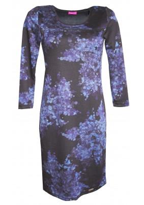 Modro černé teplé šaty s 3/4 rukávem