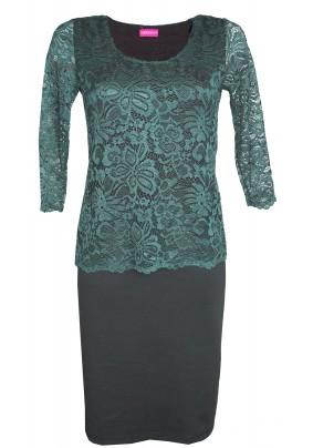 Společenské šaty se zelenou krajkou