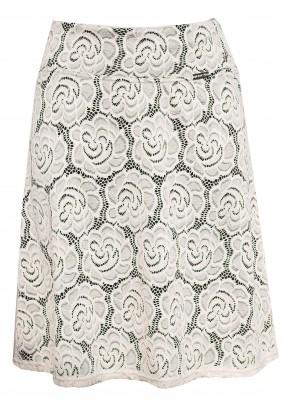Smetanová krajková sukně