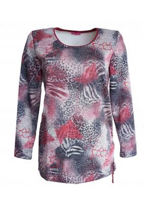 Šedý svetr s geometrickým tiskem