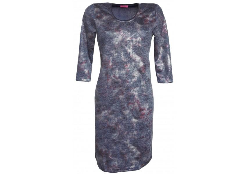 Modré hladké šaty s tiskem