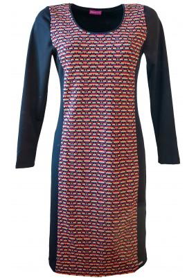 Černé šaty s barevným předním dílem