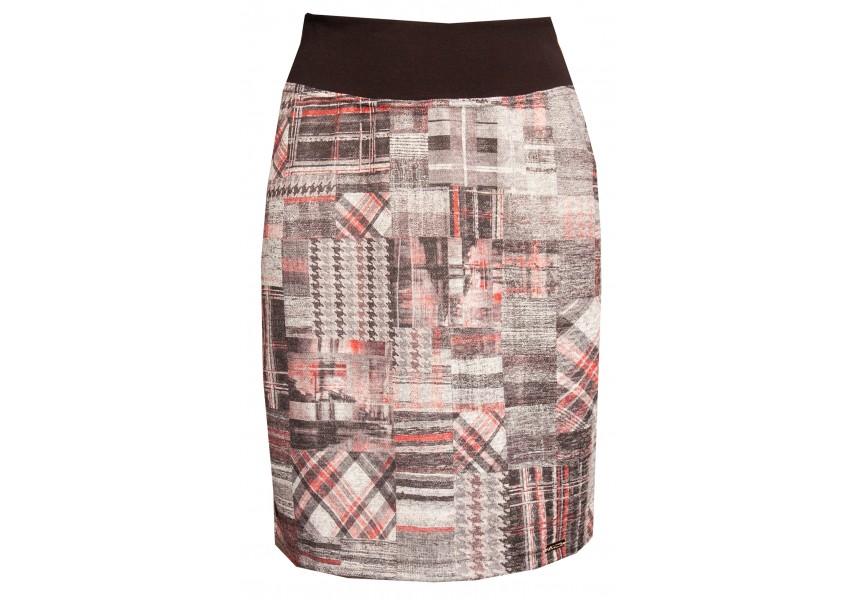 Šedo červená kostkovaná sukně