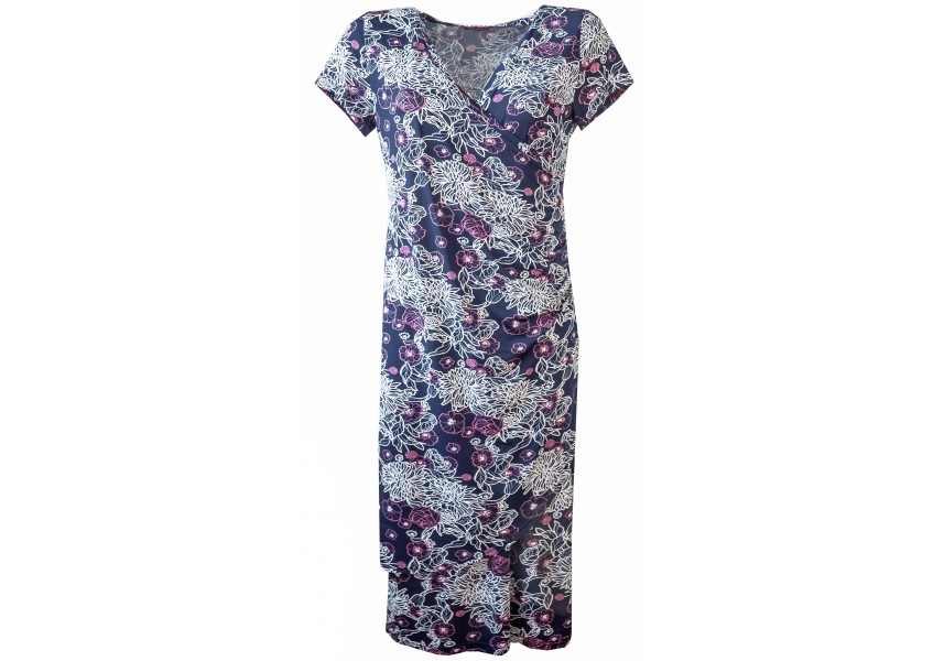 Modré překládané šaty s tiskem