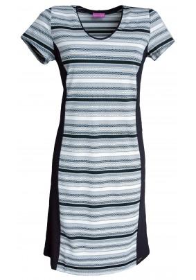 Dámské šaty s černo béžovo zlatým proužkem