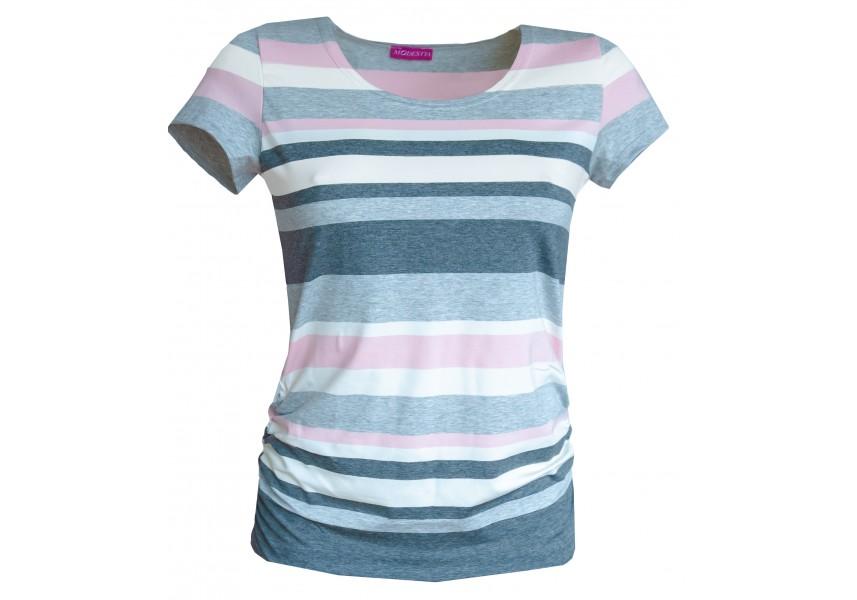 Pruhované triko šedo růžové