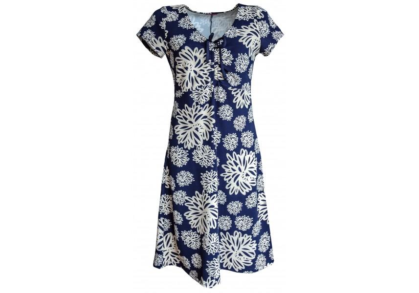 Modré šaty s béžovými květy