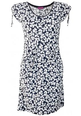 Modro bílé šaty s kapsami
