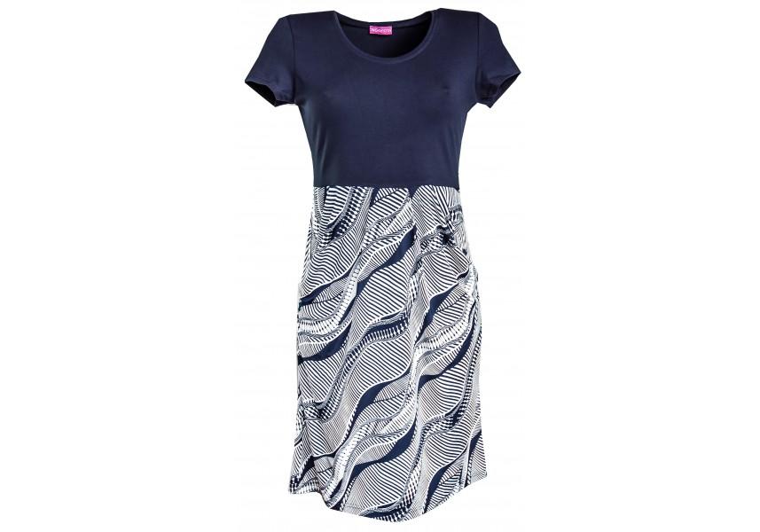 Kombinované letní šaty v tmavě modré barvě