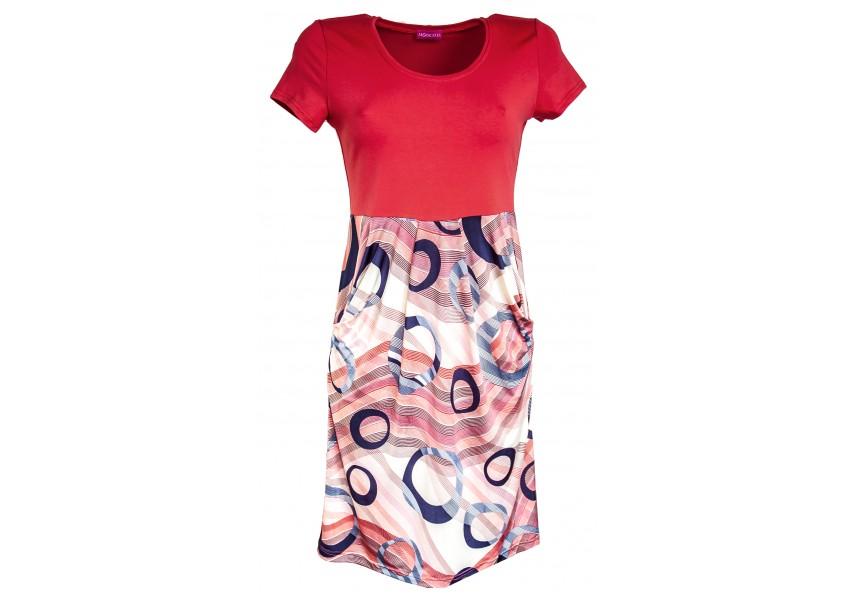Šaty s geometrickým vzorem na sukni