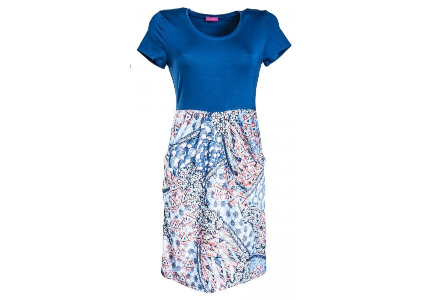 Šaty s barevným tiskem na sukni