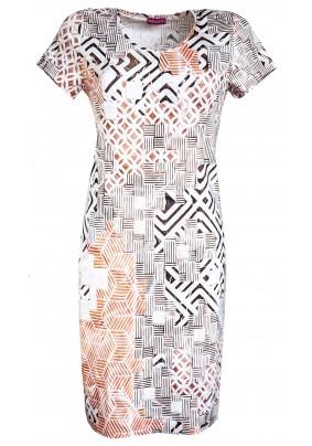 Pouzdrové šaty s hnědým tiskem