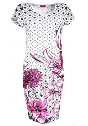 Světlé pouzdrové šaty s tiskem